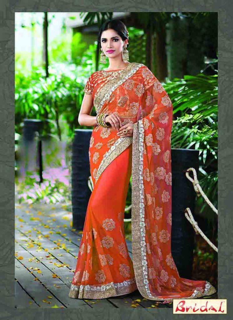Orange Designer Saree For Wedding Fashioneven