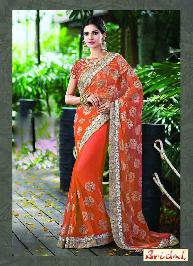 trendy orange designer saree for wedding in 2018