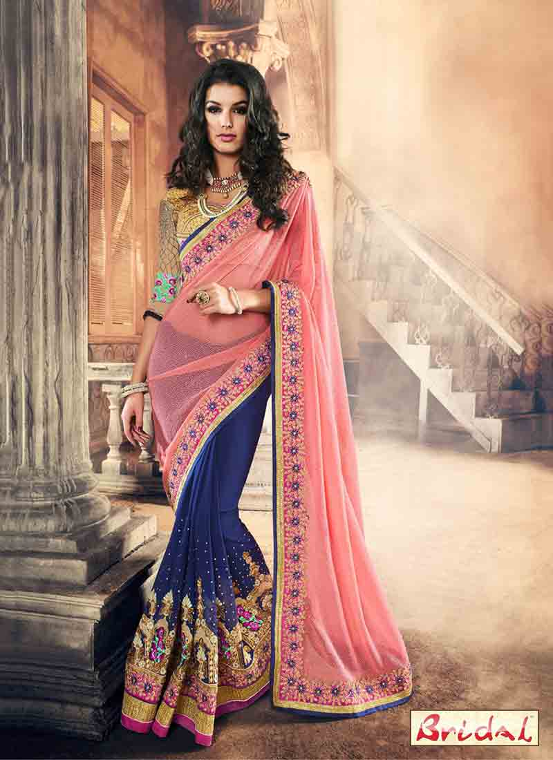 Pink And Blue Saree Designs For Wedding In 2018