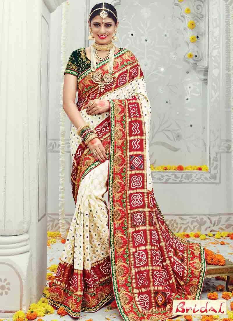 new red and white Indian bridal wedding and party wear saree designs 2018