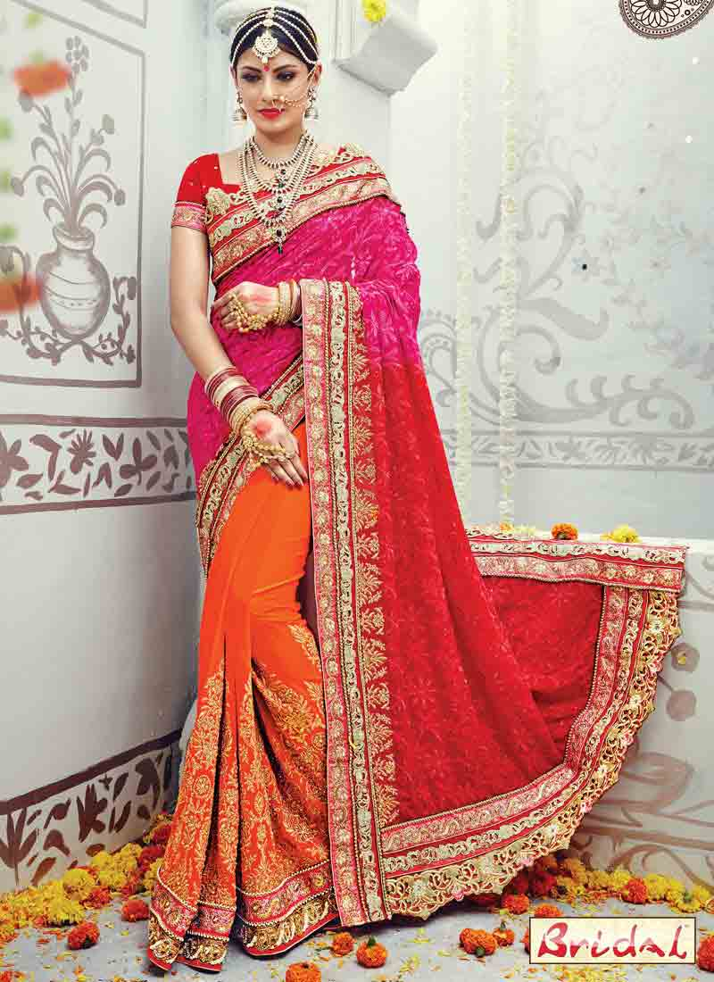 best orange pink and red saree designs for wedding in 2018