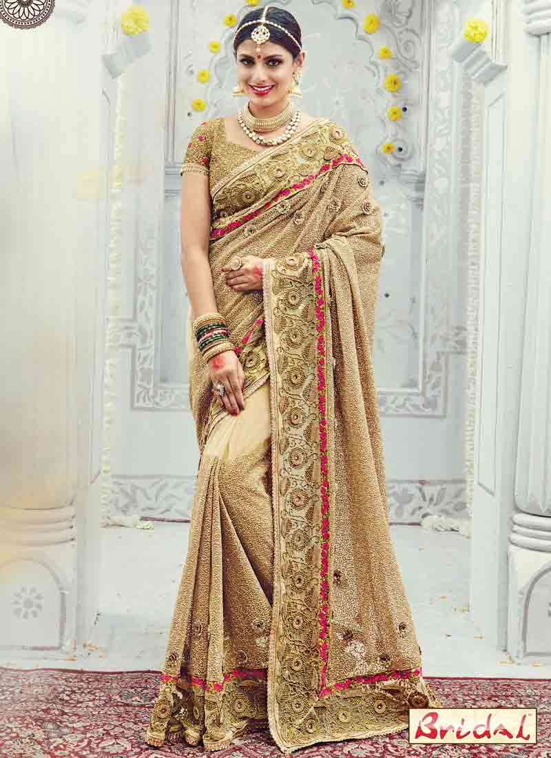 gorgeous golden designer saree for wedding in 2018
