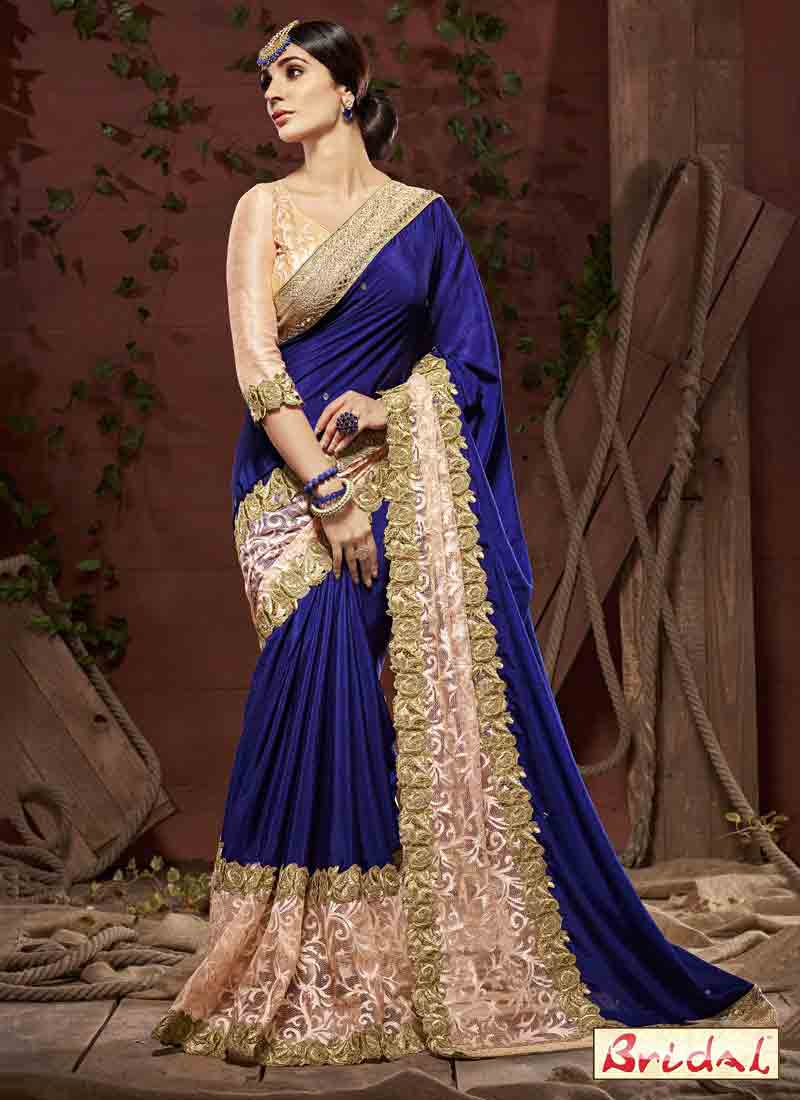 trendy royal blue silk designer saree for wedding in 2018