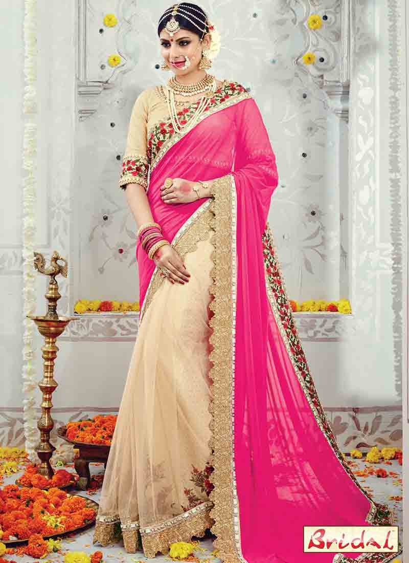 Latest pink and cream designer saree for wedding in 2018