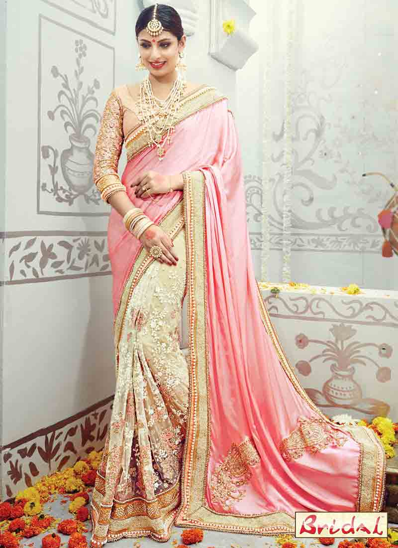 beautiful light pink and off white designer saree for wedding in 2018