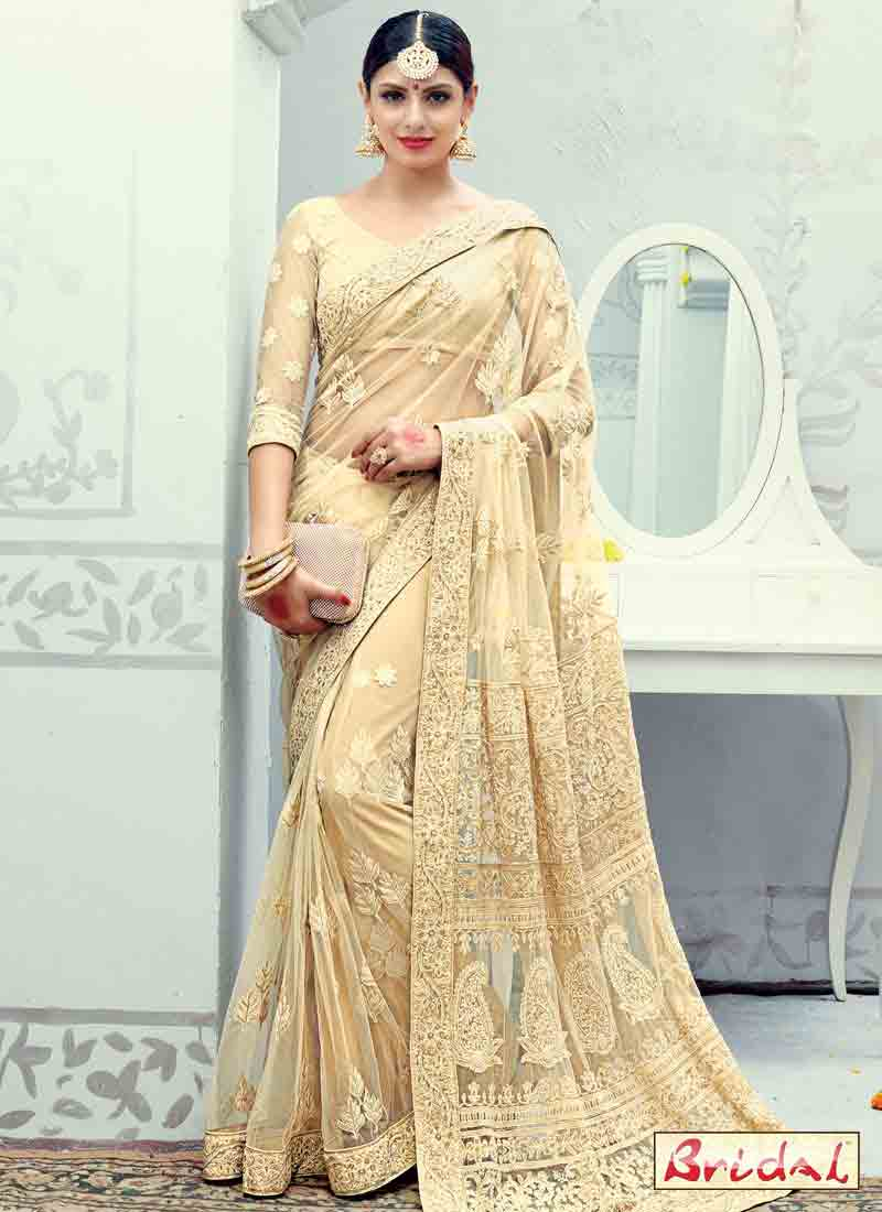 best golden beige net designer saree for wedding in 2018