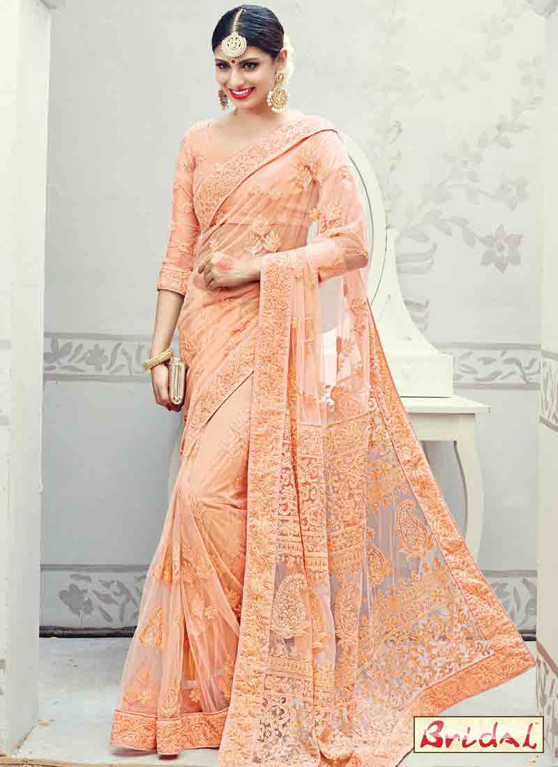 beautiful net peach designer saree for wedding bridals in 2018