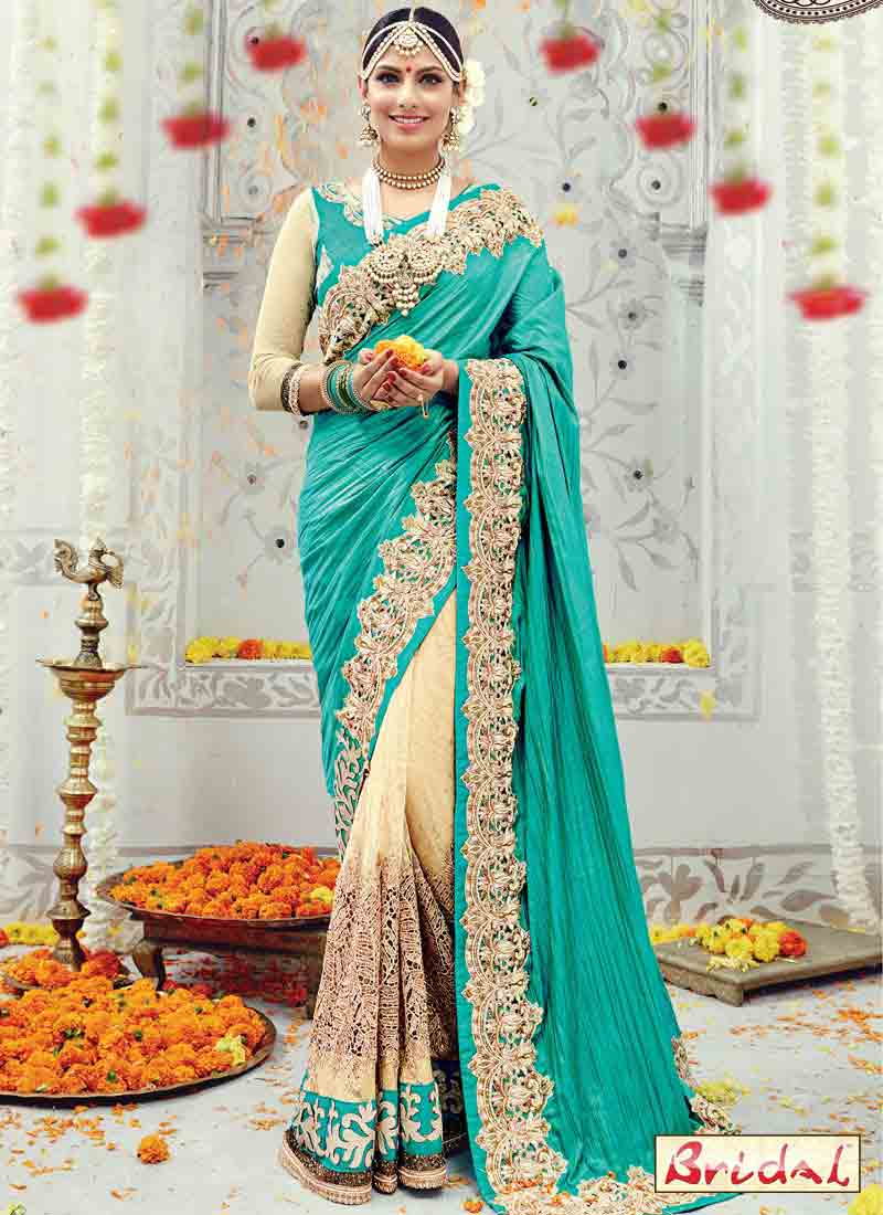 new sea green designer saree