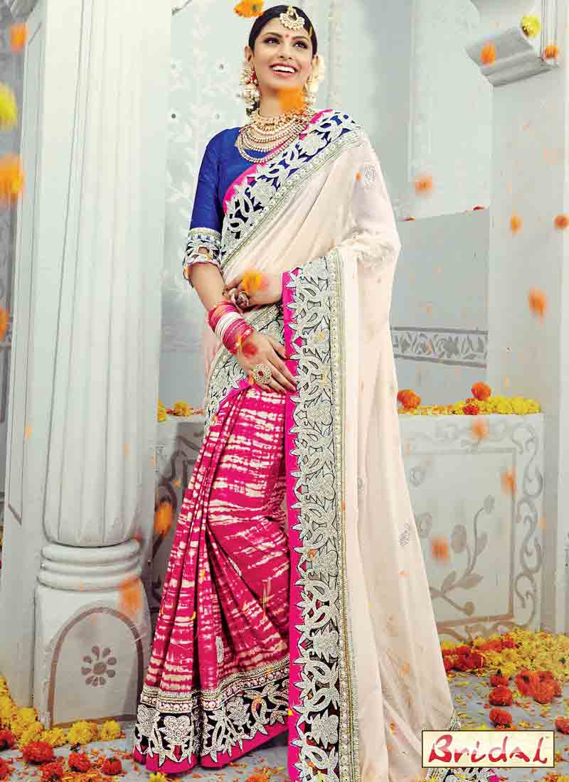 amazing pink white and blue designer saree for wedding in 2018