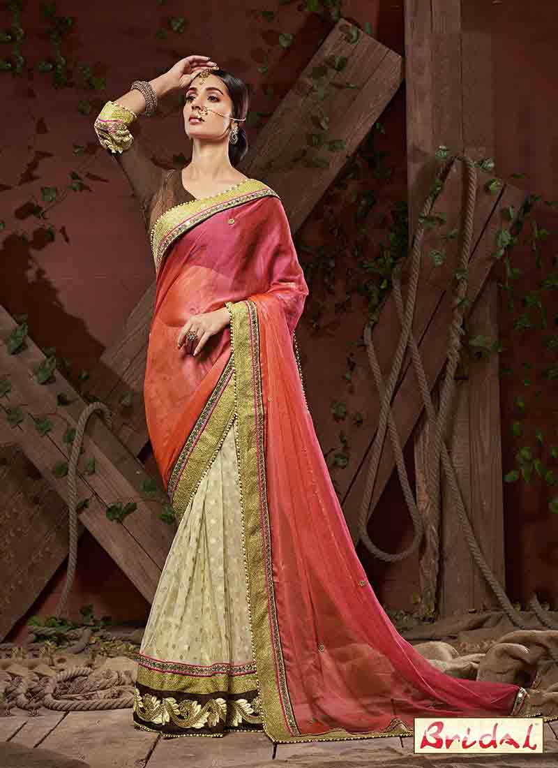 gorgeous orange and white designer saree for wedding in 2018