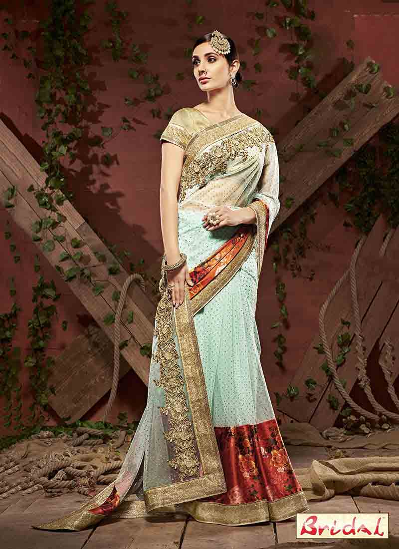 best light blue designer saree for wedding in 2018
