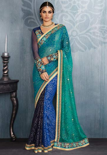 amazing blue and ferozi designer saree for wedding in 2018