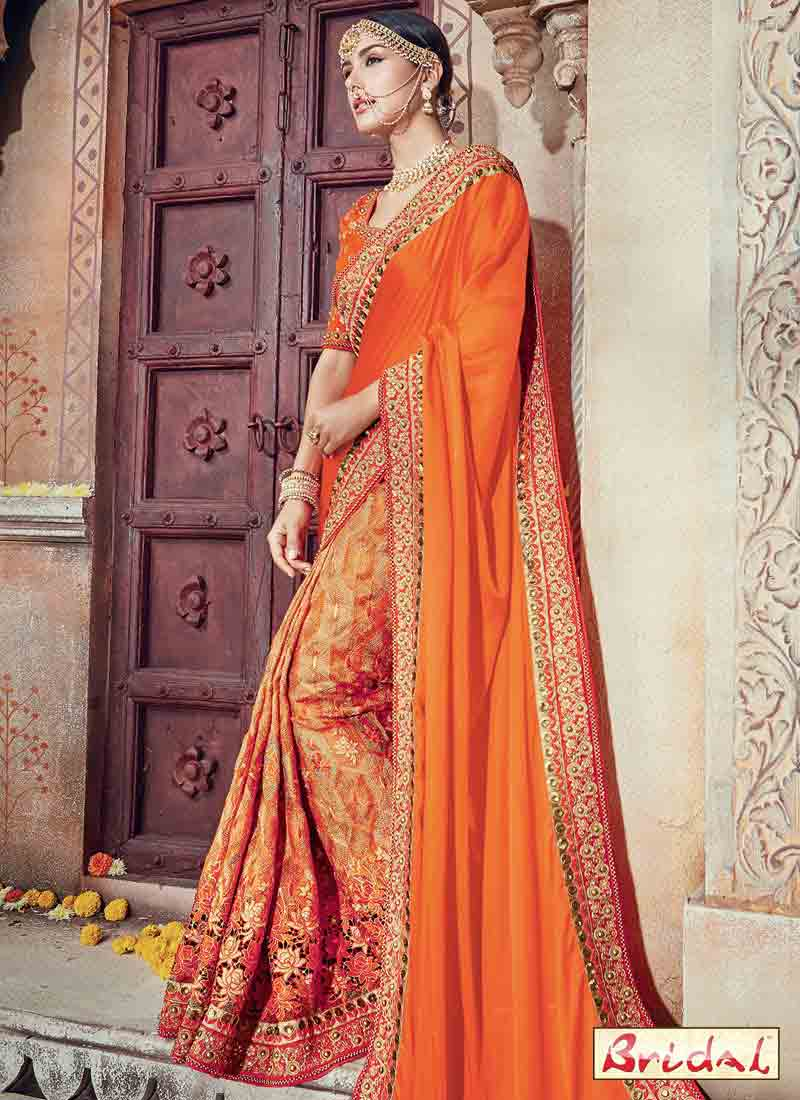 classy orange silk designer saree for wedding in 2018
