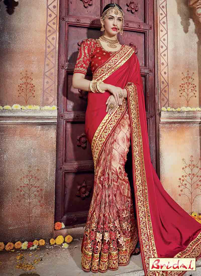 beautiful red and golden designer saree for wedding