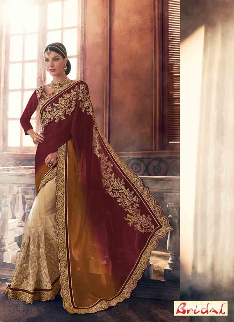 latest brown net and silk saree designs for wedding in 2018