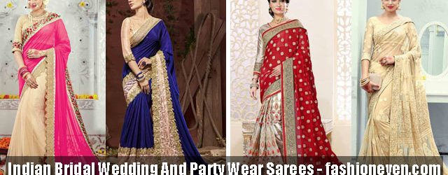 latest Indian bridal wedding and party wear saree designs 2017