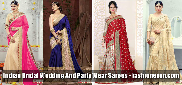 latest Indian bridal wedding and party wear saree designs 2018