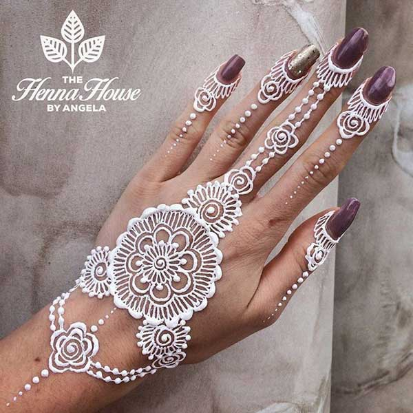 White Mehndi Tattoo : Latest christmas white henna designs new tattoos