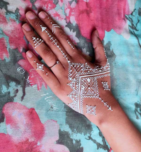 beautiful christmas white henna tattoos, latest mehndi design for christmas