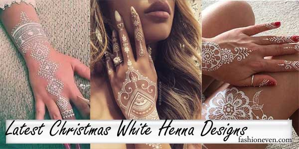 beautiful christmas white henna tattoos, latest mehndi design trends 2017