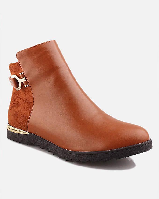 latest brown ankle winter boots for pakistani girls