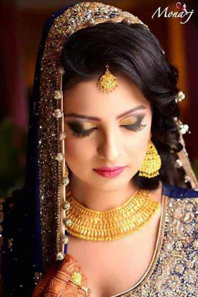 new mehndi hairstyle for wedding brides 2016