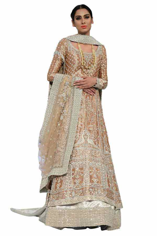fully embroidered heavy work peach latest bridal wedding lehenga dress designs 2017 with long shirt