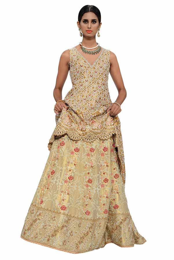 best golden latest bridal wedding lehenga dress designs 2017