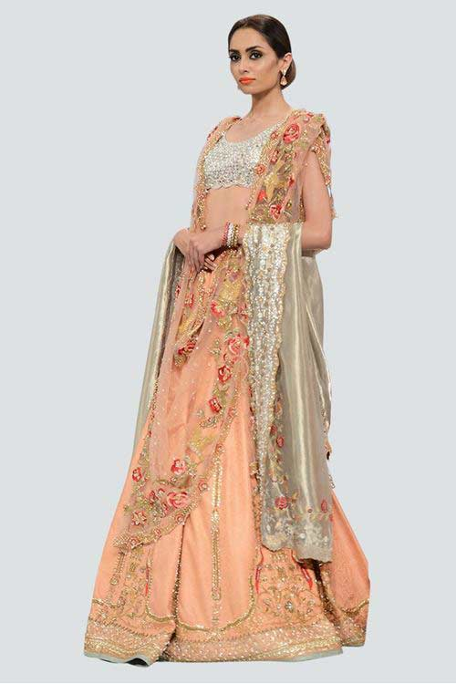 new silver and peach latest bridal wedding lehenga dress designs 2017 with dupatta