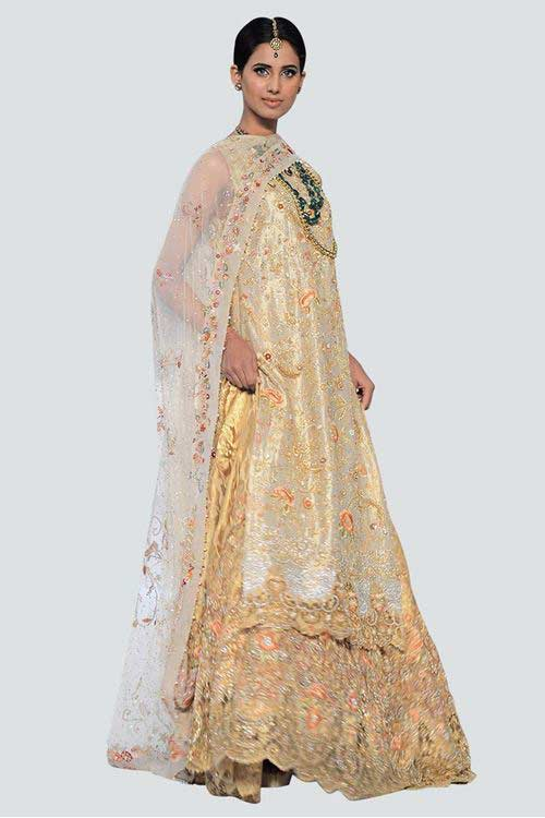 new fully embroidered golden latest bridal wedding lehenga dress designs 2017 with dupatta