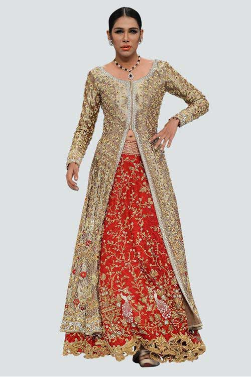 latest front open long shirt with latest bridal wedding lehenga dress designs 2017 for barat day