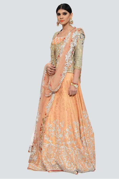 amazing peach and silver latest bridal wedding lehenga dress designs 2017 for barat day