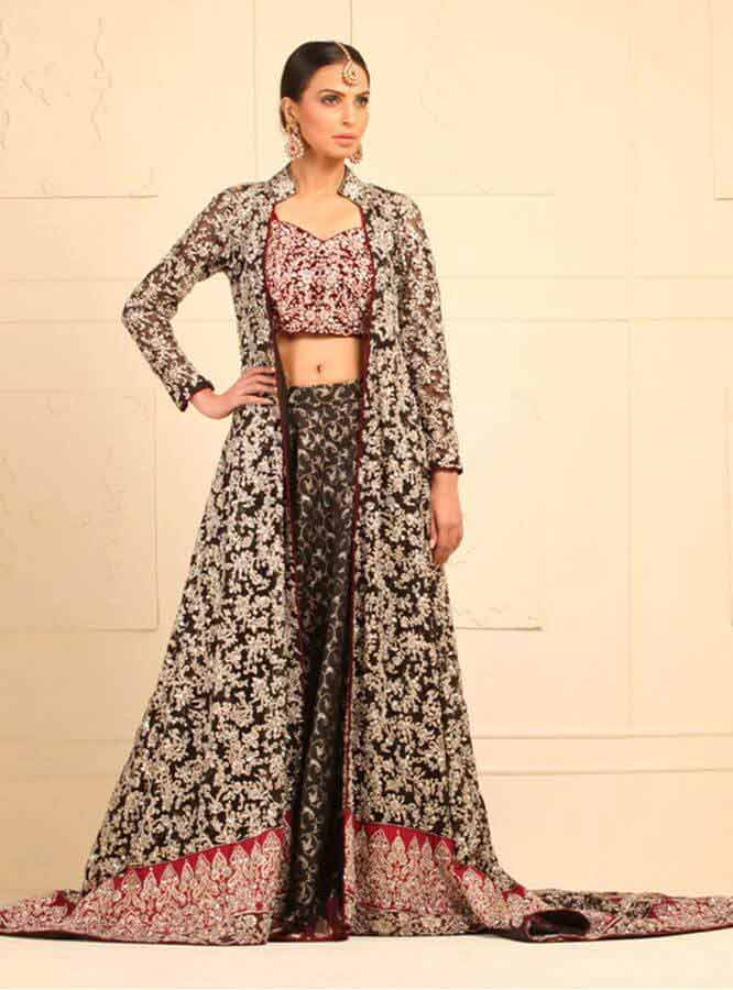 latest black designers lehnga choli with gown style for wedding bridal