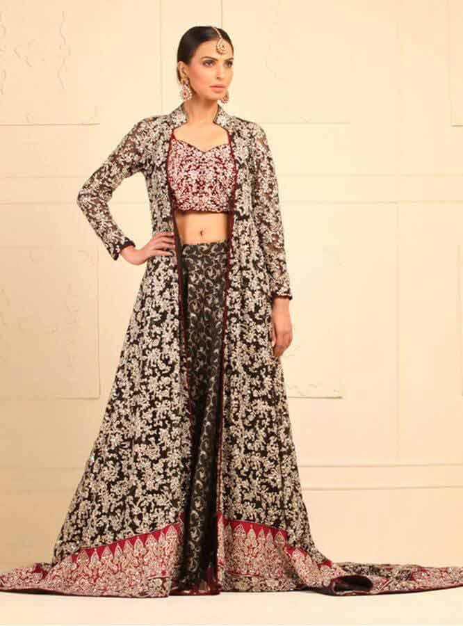 latest black designers lehnga choli with gown style for wedding bridal