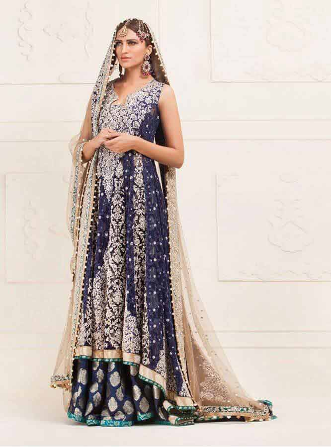 trendy blue latest bridal wedding lehenga dress designs 2017 for barat day
