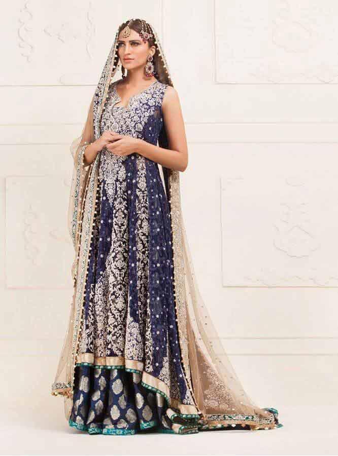 trendy blue latest bridal wedding lehenga dress designs 2018 for barat day