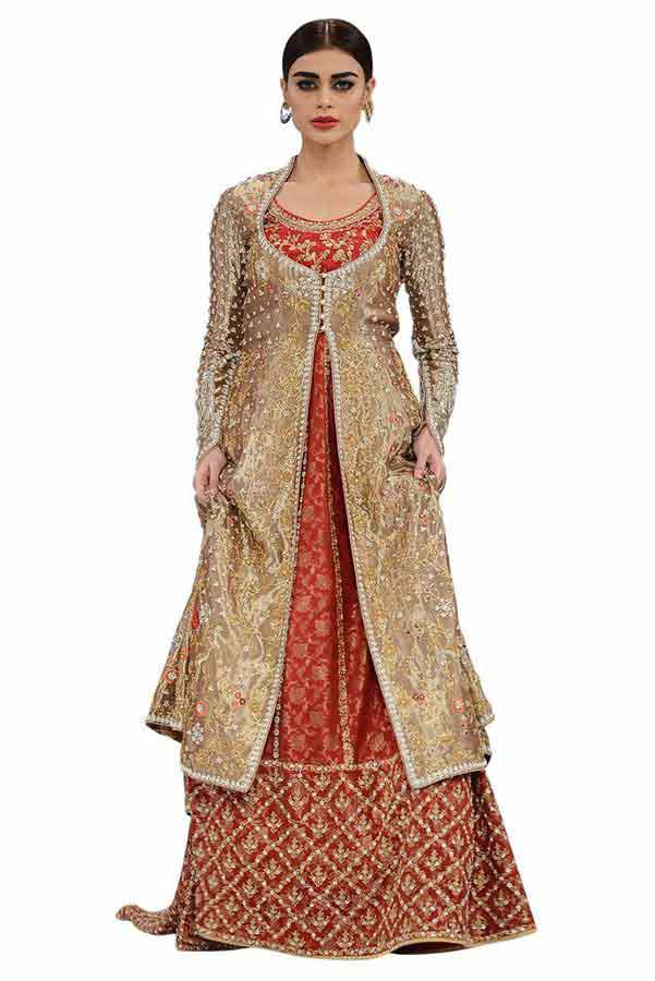new heavy lehenga with front open shirt latest bridal wedding lehenga dress designs 2017