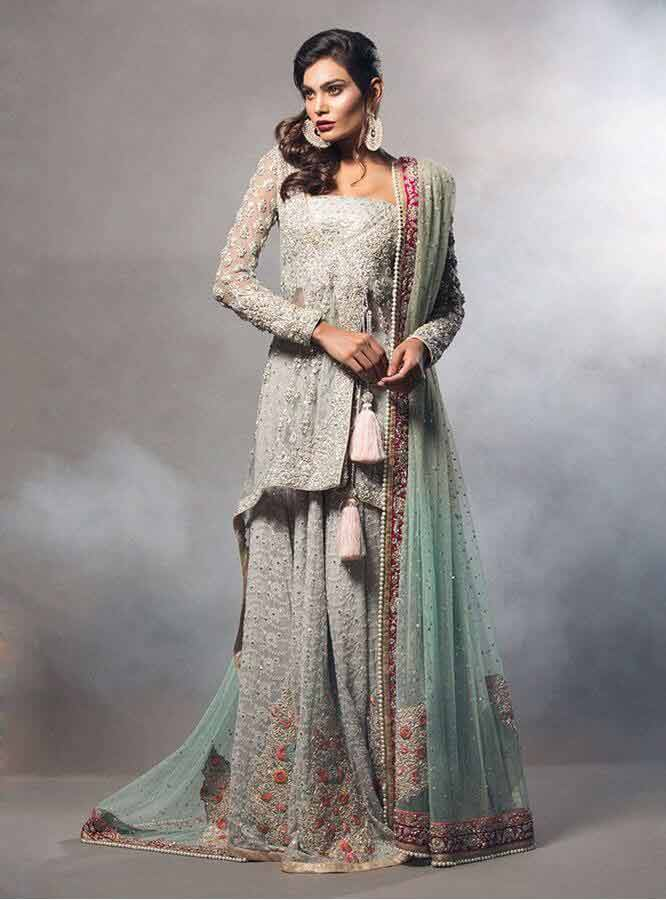 stylish ash grey latest bridal wedding lehenga dress designs 2017 for barat day