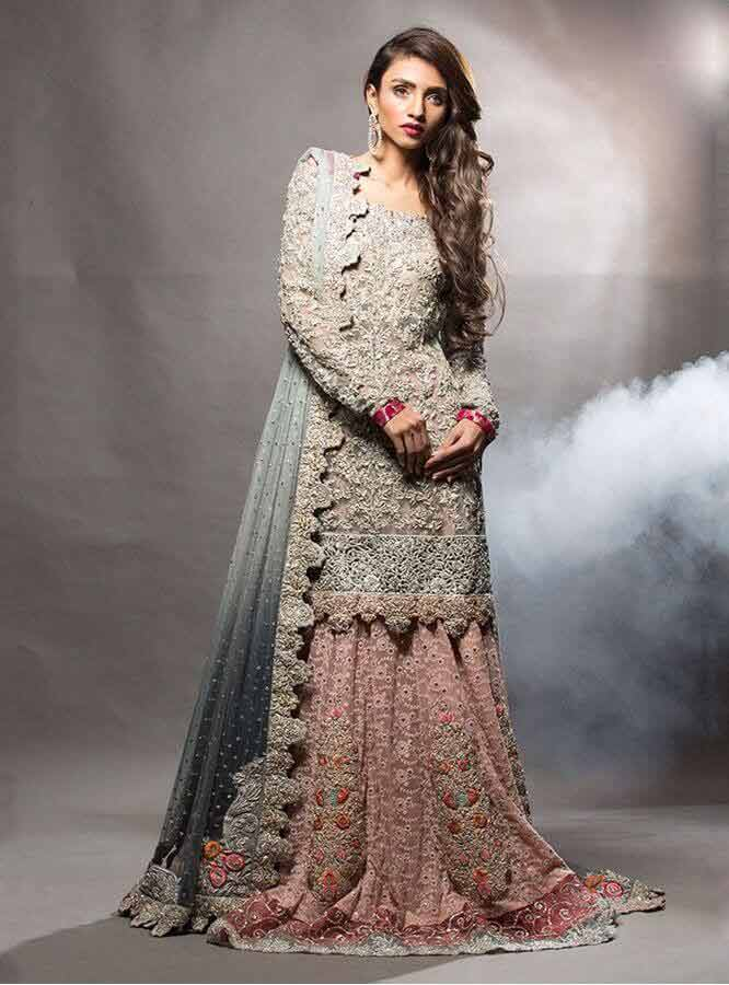 best ash grey and pink latest bridal wedding lehenga dress designs 2017 for barat day