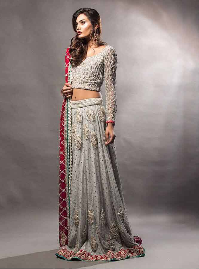 new grey and red latest bridal wedding lehenga dress designs 2017 for barat day