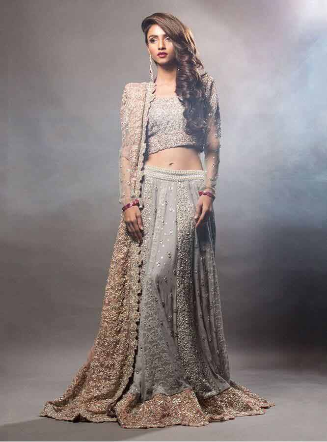 designers grey and golden latest bridal wedding lehenga dress designs 2017 for barat day
