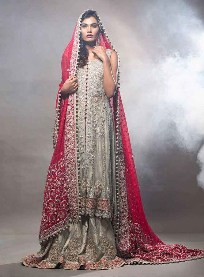 best grey and red combination latest bridal wedding lehenga dress designs 2017 for barat day
