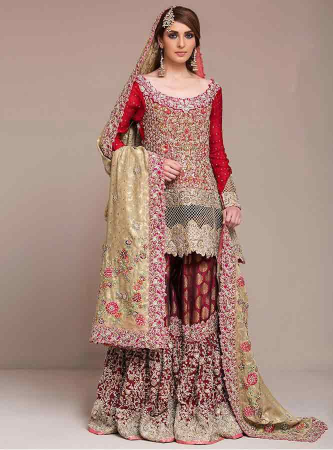 beautiful red and golden latest bridal wedding lehenga dress designs 2018 for barat day