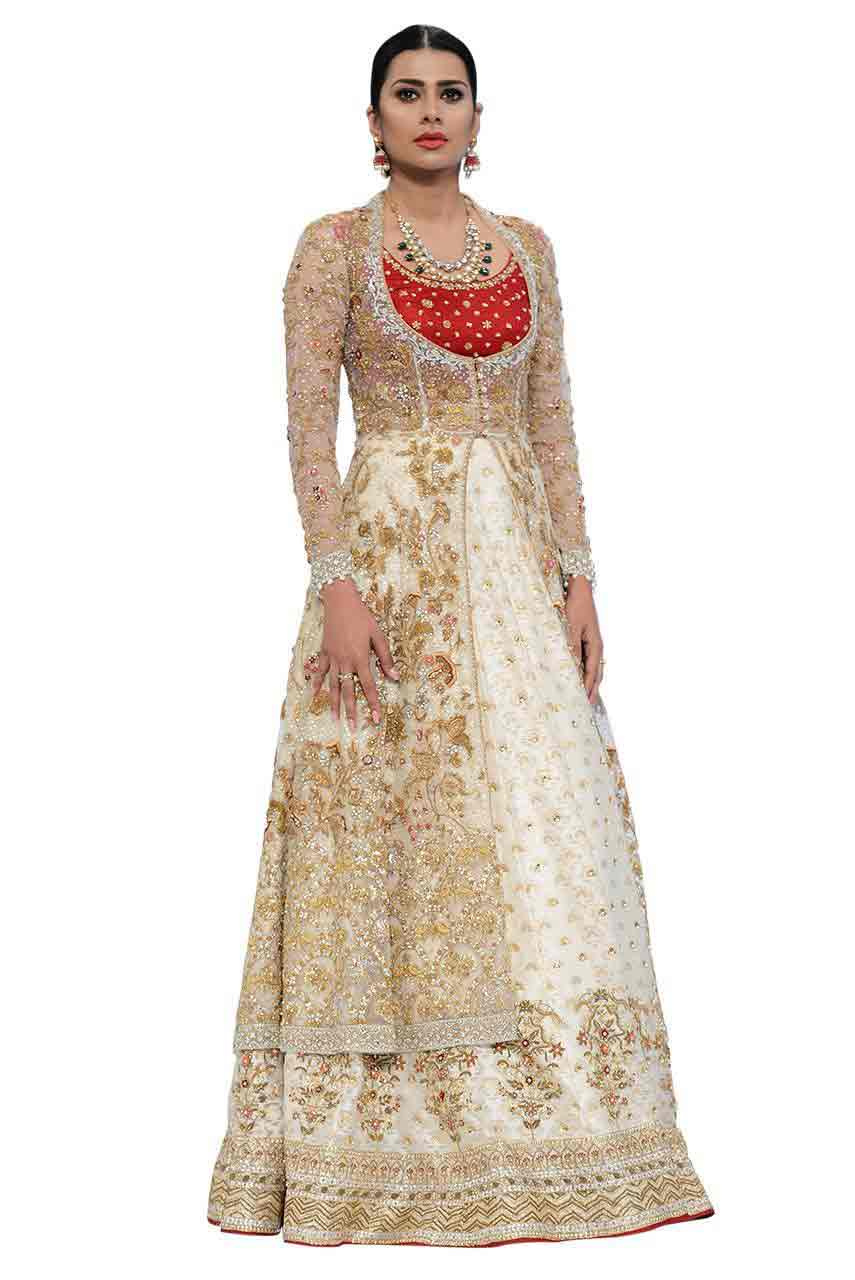 red white and golden front open shirt and red choli with latest bridal wedding lehenga dress designs 2017
