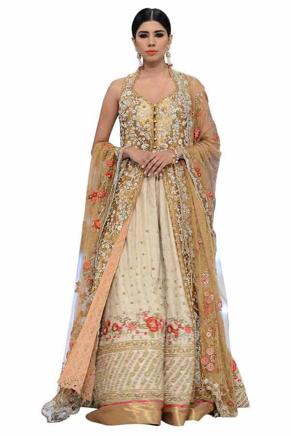 golden and white front open log shirt with latest bridal wedding lehenga dress designs 2017