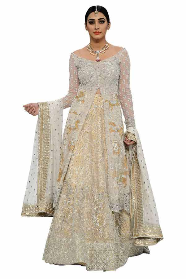 trendy front open long shirt with latest bridal wedding lehenga dress designs 2017