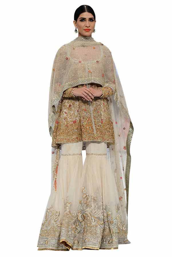 latest shirt frock and peplum with sharara trends for pakistani wedding bridal barat day 2017