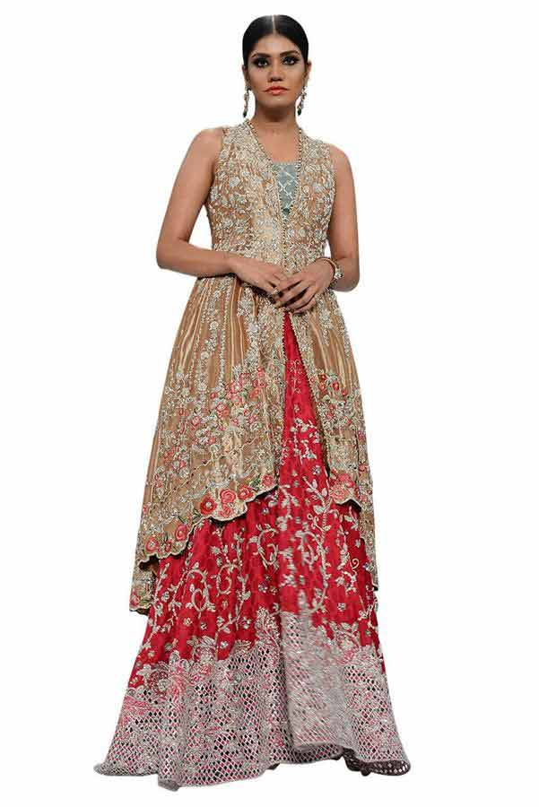 new front open short shirt with red lehnga designs for pakistani bride