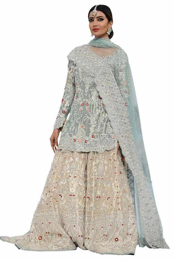 amazing ash grey and light pink latest bridal wedding lehenga dress designs 2018