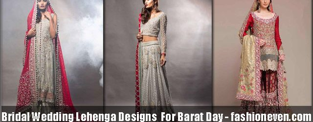 red, grey, off white latest bridal wedding lehenga dress designs 2017